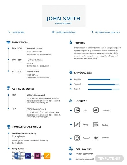 simple doctor resume template