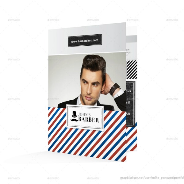 simple editable barbershop brochure design