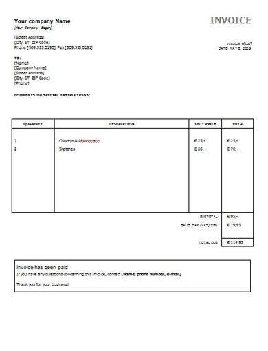 simple editable invoice format