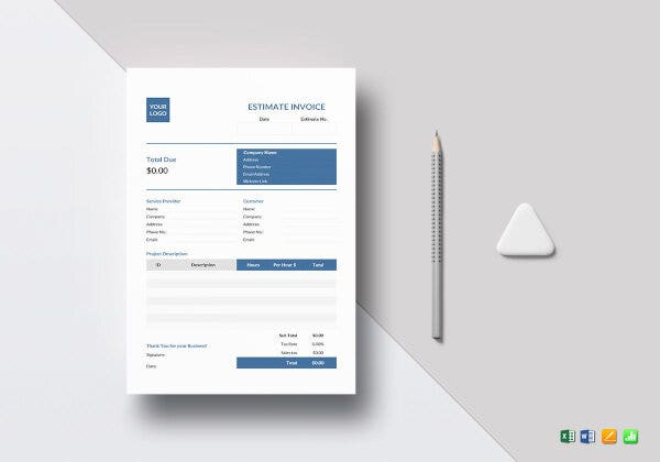 simple estimate invoice template