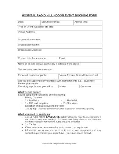 simple event booking form in pdf