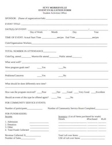 simple event evaluation form format