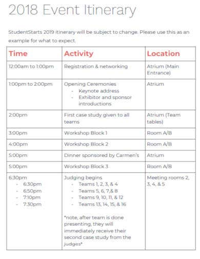 simple event itinerary template
