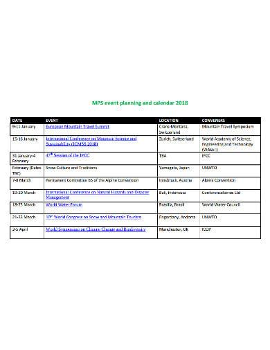 simple event planning calendar