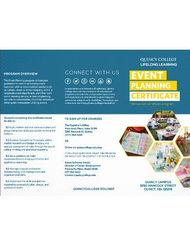 simple event planning certificate