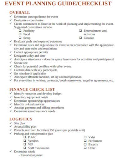simple event planning checklist