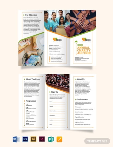 simple fundraising event tri fold brochure template
