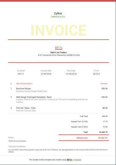 simple invoice template example