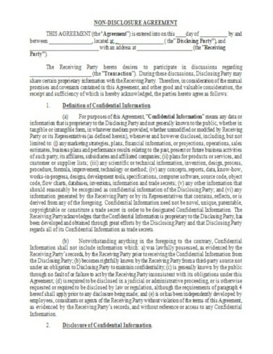 simple legal confidentiality agreement template