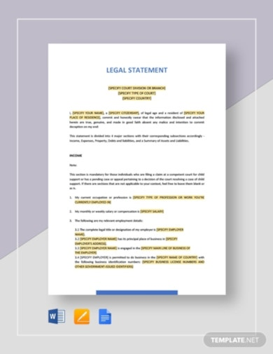 simple legal statement template