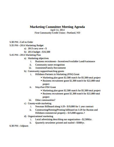 simple marketing meeting agenda template
