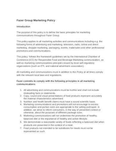 simple marketing policy template