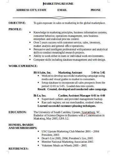 simple marketing resumes example