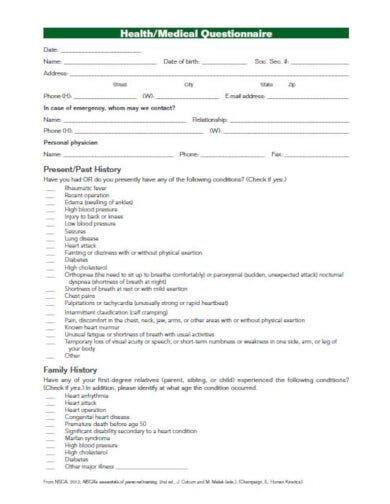 simple medical questionnaire format