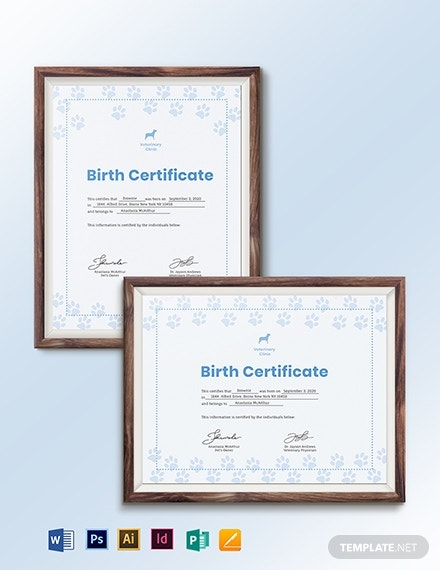 simple pet birth certificate template