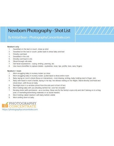 simple photo shot list template download