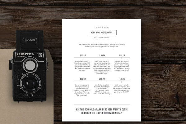 Simple Wedding Photography Timeline Template