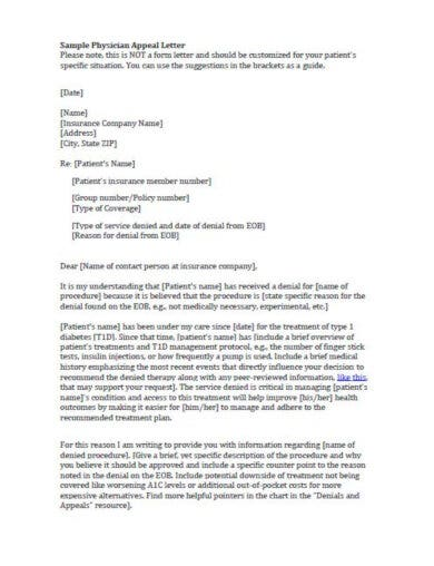 simple physician appeal letter