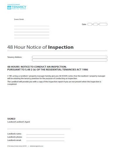 simple property inspection letter cum notice