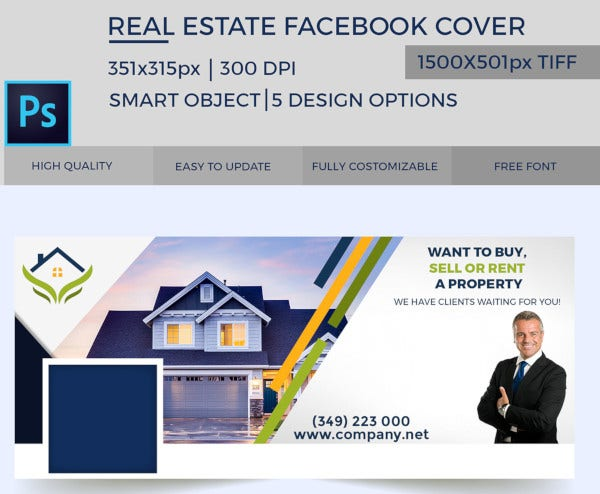simple real estate facebook cover