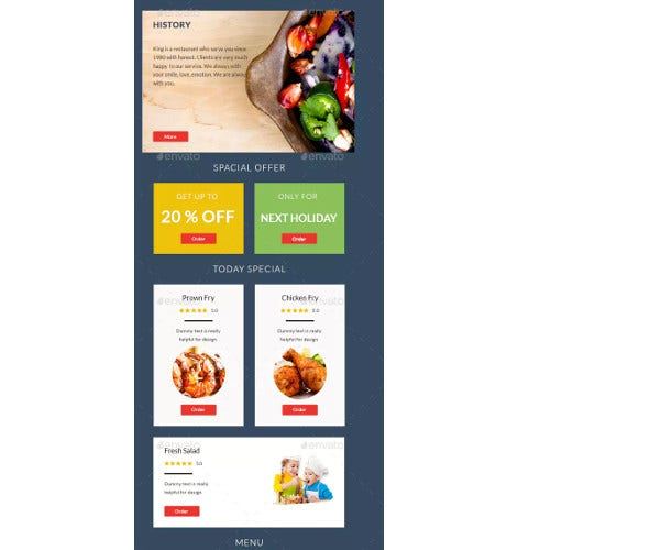 simple restaurant email template