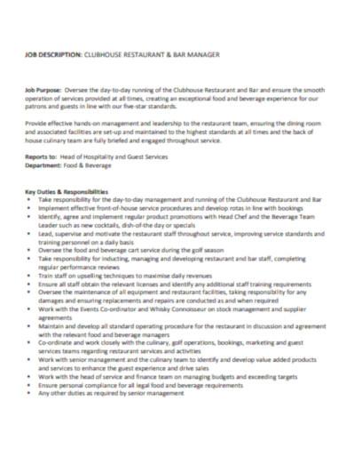 simple restaurant job description in pdf