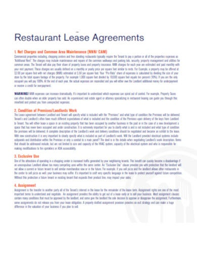 8 Restaurant Lease Agreement Templates In Google Docs