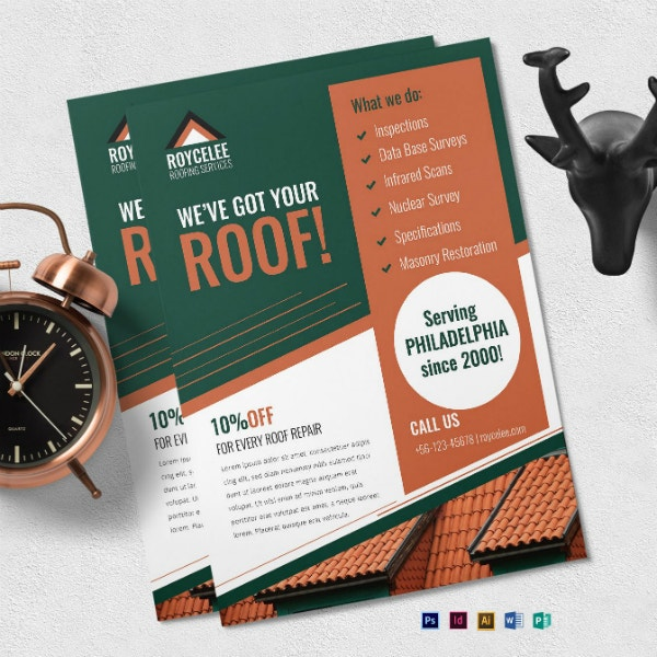 simple roofing services flyer template