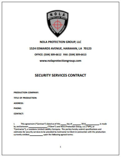 simple security contract template
