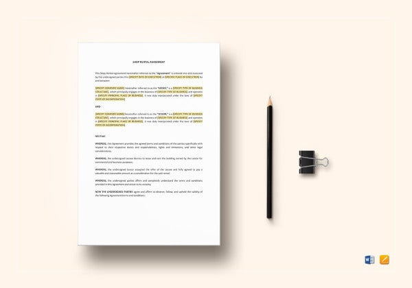 simple shop tenant lease agreement template
