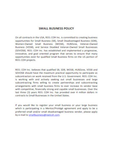 simple small business policy example
