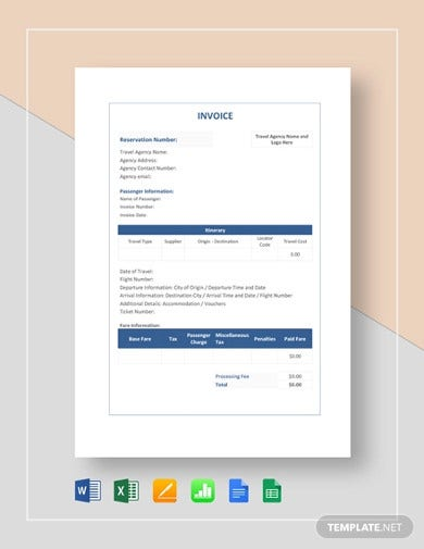 simple travel agency invoice template1