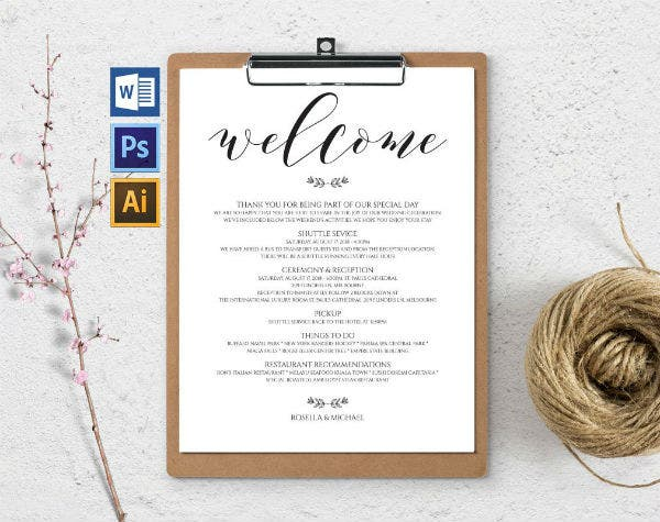 simple wedding itinerary template