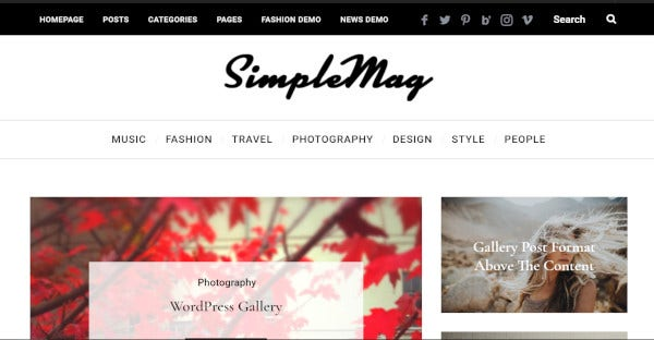 simplemag drag and drop composer wordpress theme