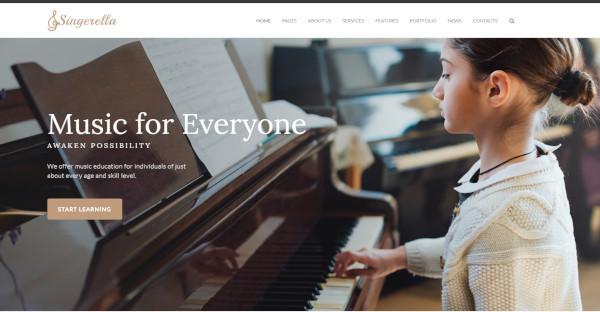 singerella music school wordpress theme