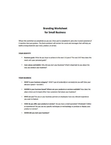small business branding worksheets