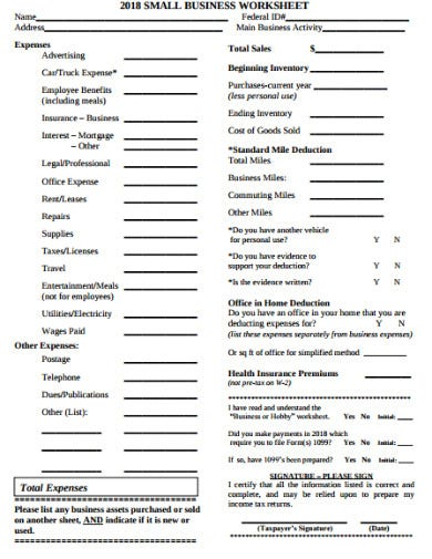 small business expenses worksheet