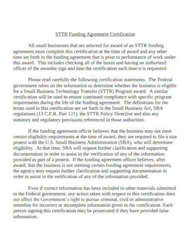 small business funding agreement