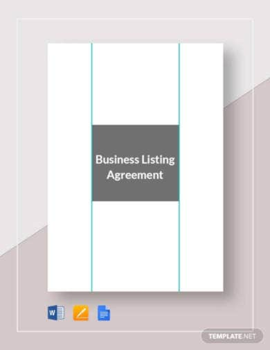 small business listing agreement template