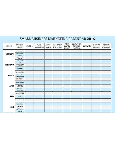 small business marketing calendar