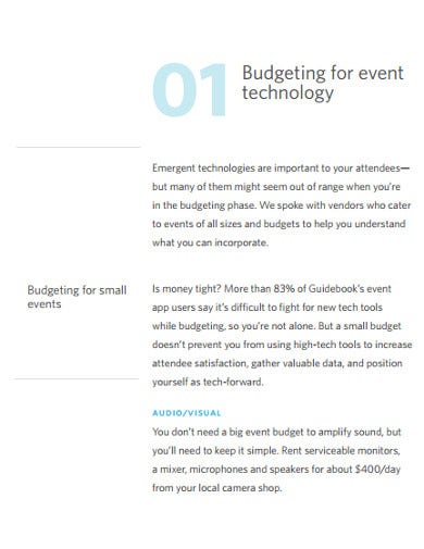 small event budget template