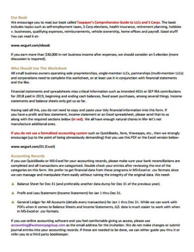 small business worksheets example