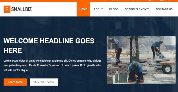 smallbiz carousel slider wordpress theme