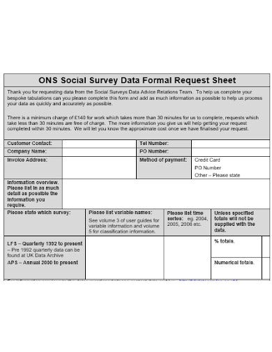 social survey sheet template