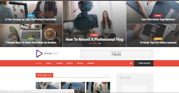 social video – customized wordpress theme