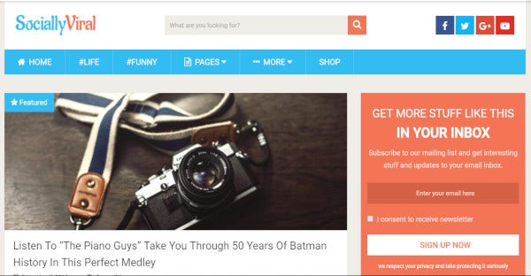 sociallyviral blog based wordpress theme