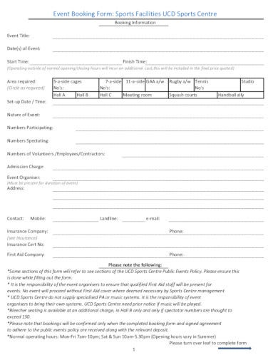 sports event booking form template