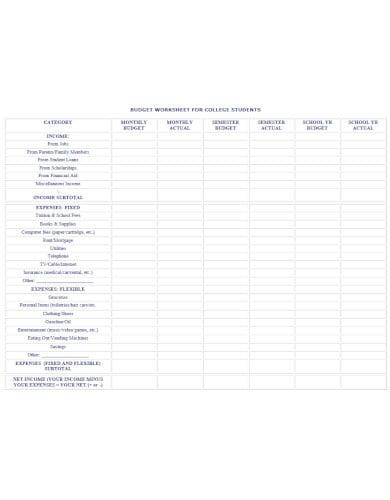 standard college budget worksheet