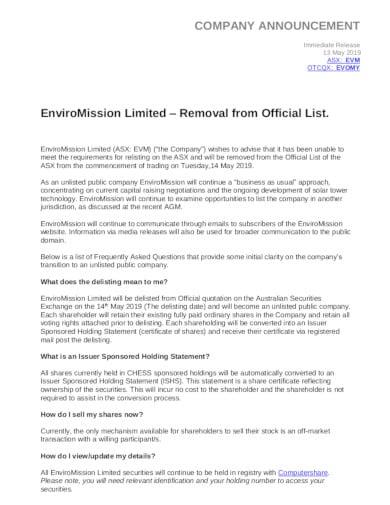 standard company announcement template