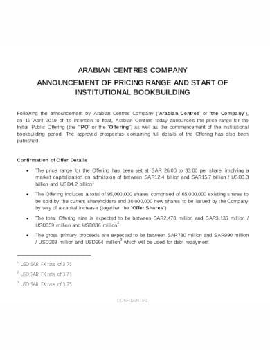 standard company announcement in pdf